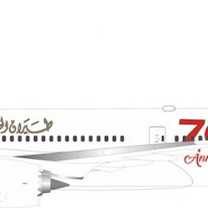 """B787-9 Dreamliner (Gulf Air """"70th anniversary"""") A9C-FG With Stand (Inflight 200 IF789GF50)"""