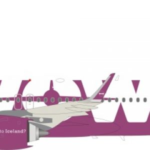 A320neo (WOW Air) TF-NEO With Stand (J Fox Models JF-A320-006)