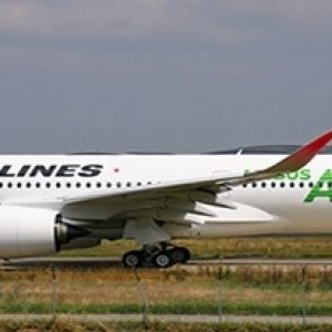 """A350-900XWB (JAL, Japan Airlines """"JAL Green"""") JA03XJ With Stand (JC Wings EW2359003)"""