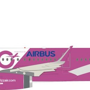 """Airbus A321-200 Wizz Air """"100th Airbus"""" HA-LTD With Stand (Inflight 200 IF321W60919)"""