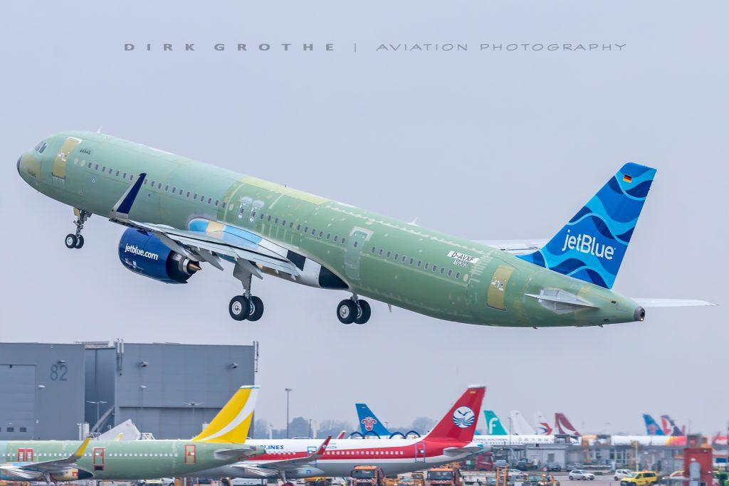 Primeiro A321LR da JetBlue realizou voo de teste