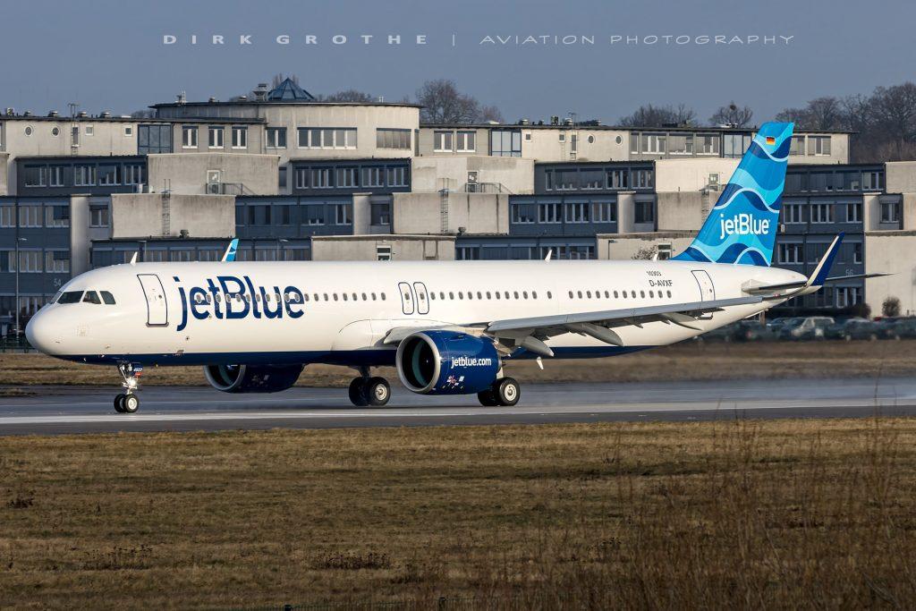 A321LR da JetBlue continua voos de teste, desta vez de 9h30