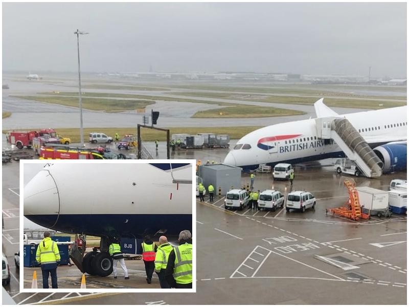 Trem de aterragem dianteiro de Boeing 787-8 da British Airways colapsou