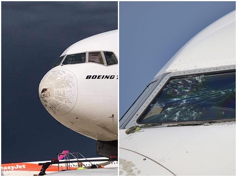 B777 da Emirates é atingido por uma tempestade de granizo